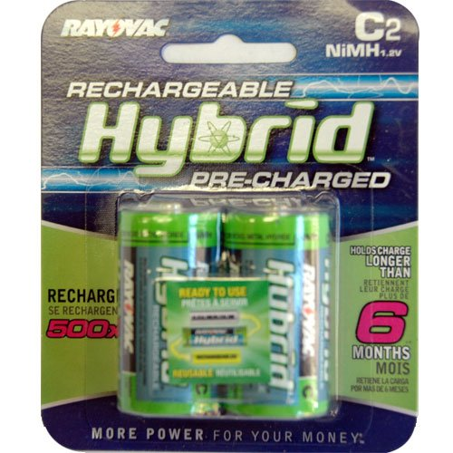 Rayovac Hybrid Rechargeable C NiMH Batteries (Pack of 2)
