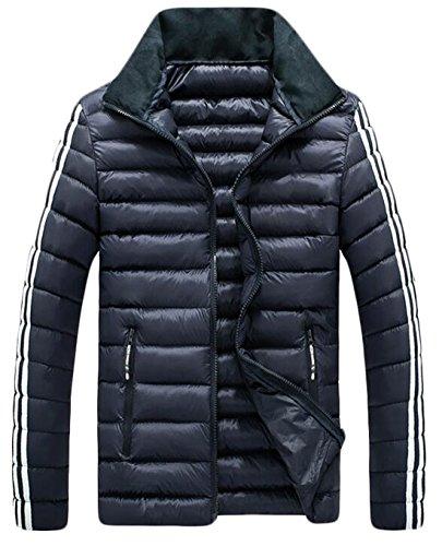 Stripe US Coat Jacket Fashion Collar Side Men's Blue Navy Down M EKU Stand XTqBSnx6