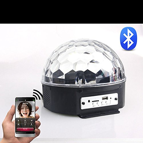Etbotu Bluetooth Plug-in MP3 Crystal Magic Ball 9 Color Rotating Sound LED Stage Lighting Remote Control for Party Wedding Performance Club Bar (U.S. Regulations) by Etbotu (Image #1)
