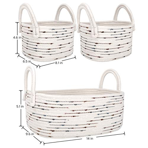 LA JOLIE MUSE 14 Inch Cotton Rope Woven Storage Basket Set of 3, Multipurpose Soft Basket for Organizing with Handles, Nursery Organizer Bins for Toys, Off White with Blue & Brown Dotted Pattern