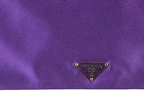 Prada Pochette Handtasche Damen Tasche Clutch Satin Violett