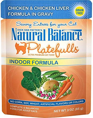Natural Balance Platefulls Wet Cat Food in Gravy for Indoor Cats, 3 Ounce Pack of 24 , Grain Free