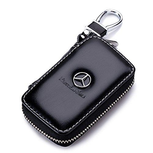 QZS Mercedes Benz Black Leather Car Key Case Coin Holder Zipper Remote Wallet Key Chain Bag