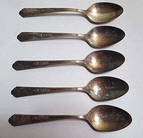 (5 SIMEON & GEORGE ROGERS Silverplate Dessert Spoons Set of 5)