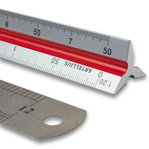 Artellius 12 Triangular Engineer Scale Ruler (Professional Grade Metal) Color Coded Engineering Scale (Metric Measurements) Free 12 Metal Standard Ruler