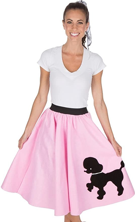 65f6ab7ab88ea Amazon.com: Adult Poodle Skirt with Musical Note printed Scarf Light Pink  by Kidcostumes: Toys & Games