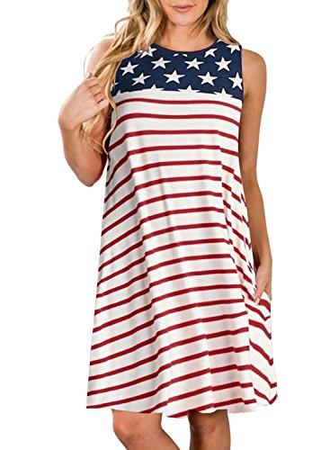 ZESICA Women's Summer Sleeveless Damask Print Pocket Loose T-Shirt Dress (Design Your Own Family Reunion T Shirt)
