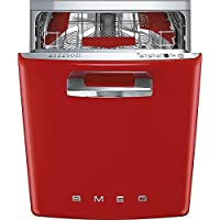 Smeg 24 50s Retro Style Fully Integrated Dishwasher with 13 Place Settings Full Size Tub 10 Wash Cycles, Red