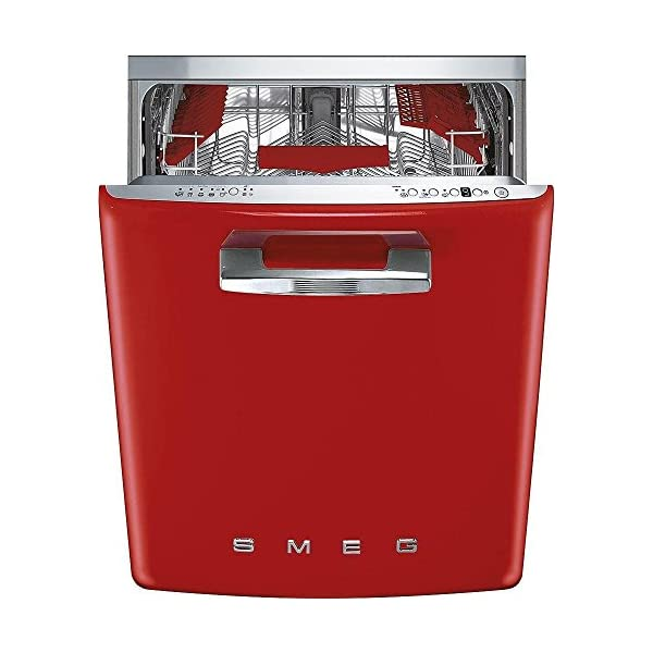 "Smeg 24"" 50s Retro Style Fully Integrated Dishwasher with 13 Place Settings Full Size Tub 10 Wash Cycles Panel Ready, Red 1"