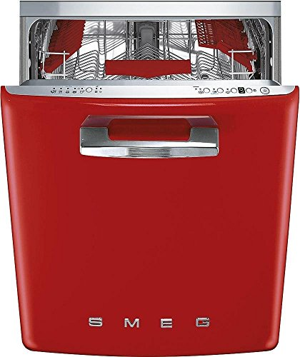 Smeg 24″ 50s Retro Style Fully Integrated Dishwasher with 13 Place Settings Full Size Tub 10 Wash Cycles, Red