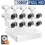 Anlapus 8CH Full HD 1080P HD-TVI Security Camera System, Surveillance DVR Kit with 1TB Hard Drive and (8) 2.0MP 1920TVL Waterproof Outdoor Indoor CCTV Bullet Camera with Night Vision