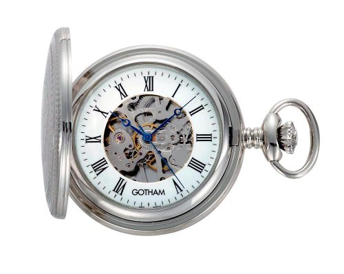 Gotham Men's Silver-Tone 17 Jewel Exhibition Mechanical Covered Pocket Watch # GWC14035S, Watch Central