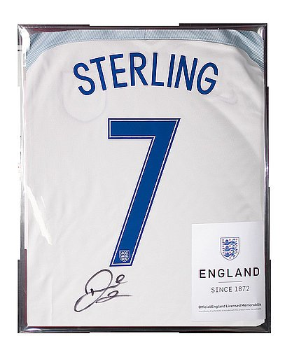 b9404087a Raheem Sterling Official England Back Autographed Signed 2016-17 Home Shirt  - Certified Authentic Soccer Signature at Amazon s Sports Collectibles Store