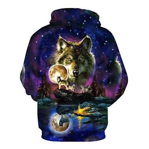 stampato Acvip felpa cappuccio giacca Wolf cappuccio Pochette stile con con Unisex 16 con Top ZpwEqaxp