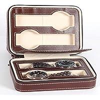Carremark 2 4 8 Grids Travel Watch Box PU Pelle Chiusura Lampo Valigetta Orologio organizzatore