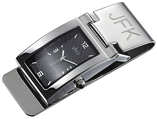 Fiber Dial Watch Money Clip, Free Engraving (Personalized Stainless Steel Watch)
