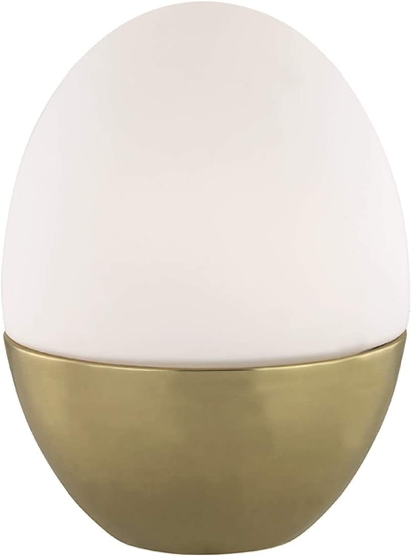 1-Light Aged Brass Small Table Lamp Opal Matte Glass Modern Contemporary