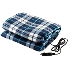 Lazer Volt LV12VHB 12V Electric Heated Fleece Blanket 59x45 Blue Plaid Use for Camping/Travel Car, Truck, RV Vehicle, or When Power Outage can be Used with The PWRBOX Model# LVSH318