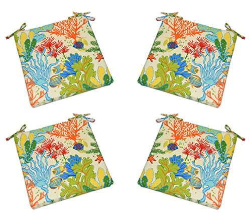"Set of 4 – Indoor / Outdoor Splish Splash Whimsical Fish / Coral Reef Universal 2"" Thick Foam Seat Cushions with Ties for Dining Patio Chairs – Choose Size (18″ x 17″) Review"
