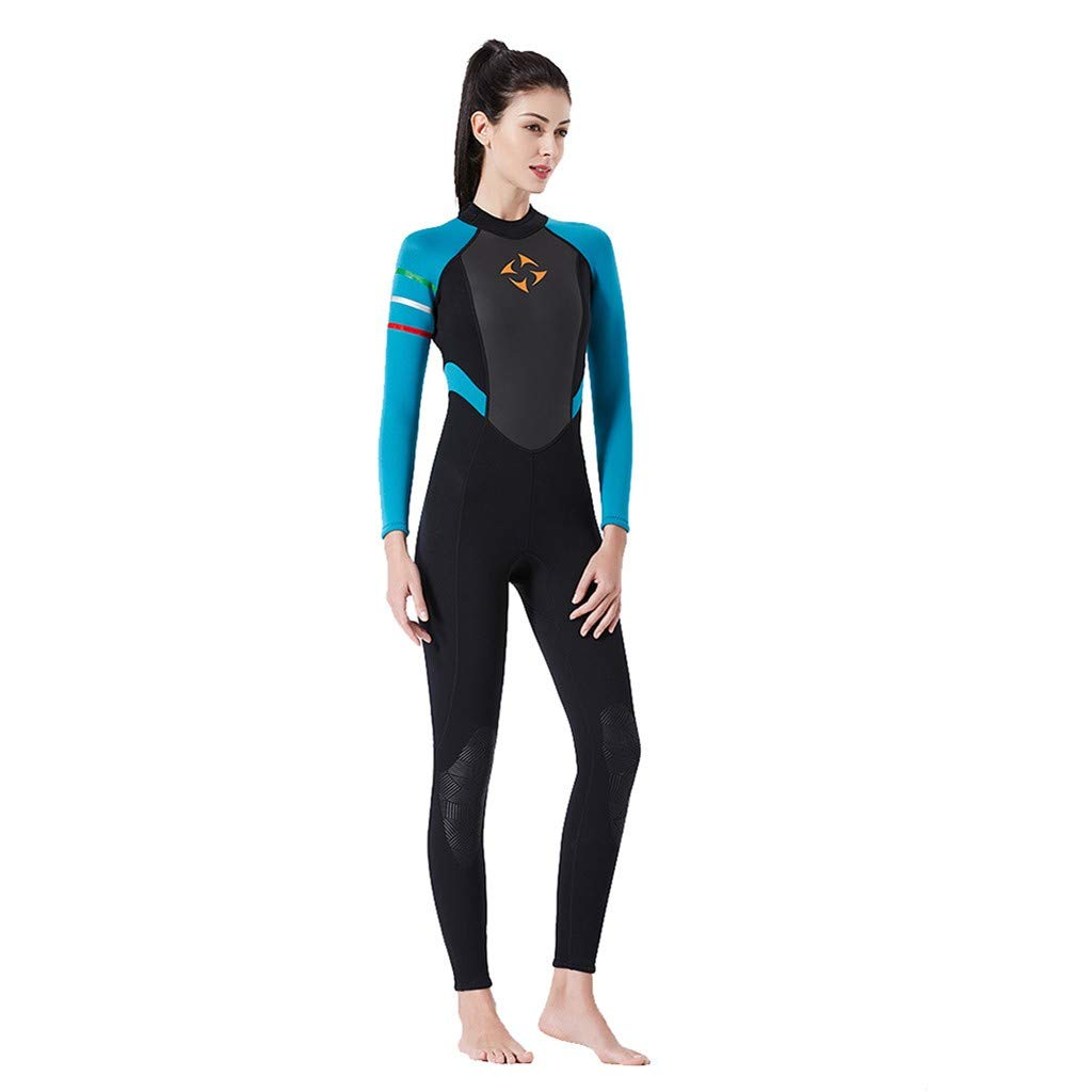 MILIMIEYIK Womens Wetsuit Full 3mm 2mm Neoprene Surfing Scuba Diving Snorkeling Swimming Suit Blue
