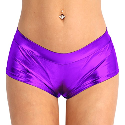 ACSUSS Women's Shiny Metallic Booty Shorts Liquid Wet Look Pants Dance Bottoms Purple Small -