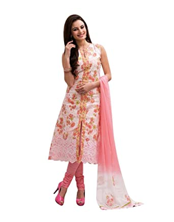 104e4345e9 Floral Printed Cotton Salwar Kameez With Lace (Fabric Only) -T0104006:  Amazon.in: Clothing & Accessories