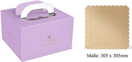 Caja de transporte para pasteles de cartón, caja para tartas rectangular, cartón para Tarta con mango, 31 x 31 cm), color azul/rosa/blanco/lila/Golden/verde/negro, 3 unidades): Amazon.es: Hogar