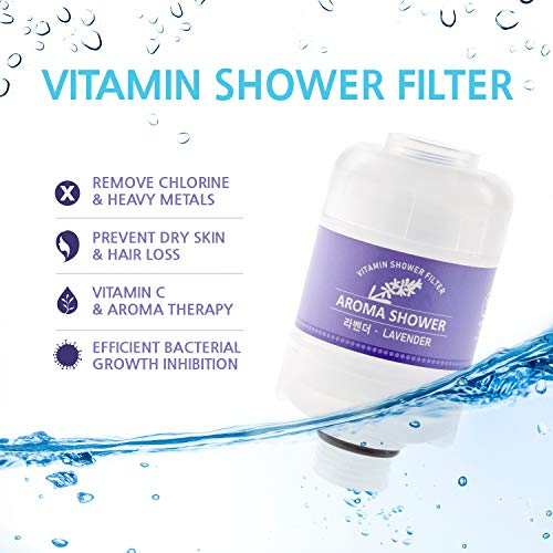 Sumi Eco Aroma shower lavender Vitamin filter - Heals Dry Itchy Skin, Eczema, Dandruff, Improves Condition of the Nails, Prevents Hair Loss, Relieves Stress