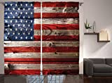Ambesonne Rustic Decor American USA Flag Curtains, Fourth of July Independence Day Weathered Retro Wood Wall Looking Country Emblem, Living Room Bedroom Decor, 2 Panel Set, 108 W X 84 L Inches For Sale