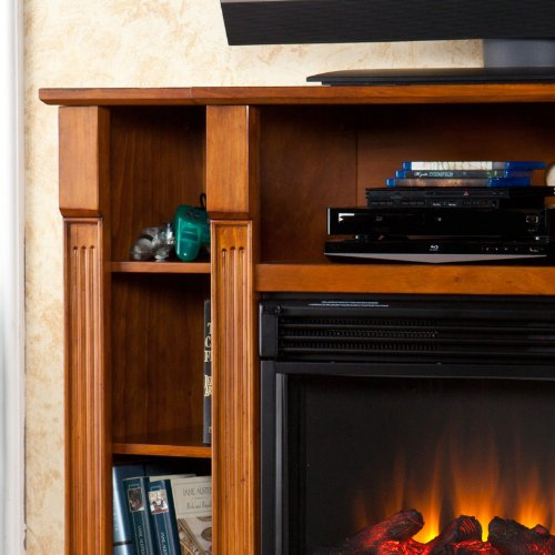 Artaxes Electric Media Fireplace - Glazed Pine