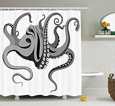 Ambesonne Octopus Decor Collection, Monster Kraken Octopus with Large Tentacles Illustration Underwater Marine Life Decor , Polyester Fabric Bathroom Shower Curtain Set with Hooks, Black (Octopus Bathtub)
