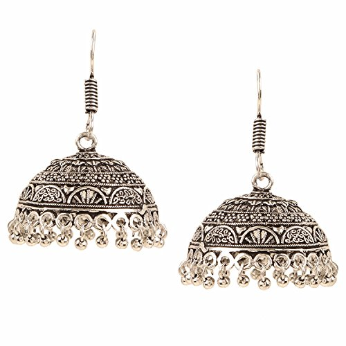 Efulgenz Boho Jewelry Indian Oxidized Silver Vintage Retro Ethnic Dangle Tribal Tibetan Gypsy Dangle Earrings for Girls Women by Efulgenz (Image #3)