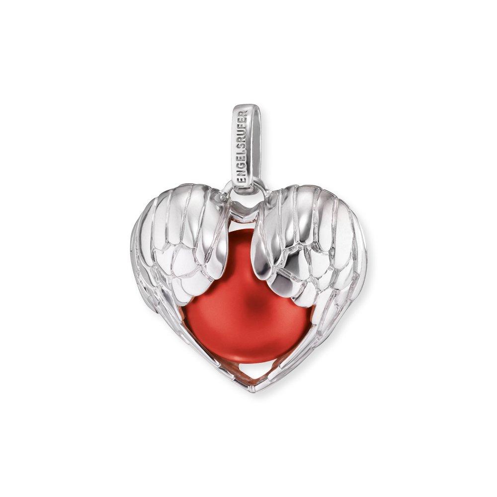 Engelsrufer Herzflügel Anhänger mit roter Klangkugel 925er-Sterlingsilber rhodiniert Größe 27 mm ERP-05-WINGHEART