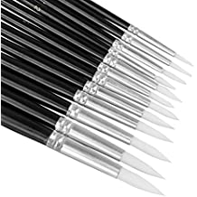 12pcs Round Tip Paint Brush Set Professional Nylon Hair Paintbrush w/ Numbered Aluminium Tube for Watercolor Paint,Oil Paint,Acrylic Paint, Face Painting,Body Painting, Artist Paint Supplies