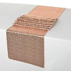 Amazon.com: 14x108-Inch Sequin Table Runner Rose Gold ...