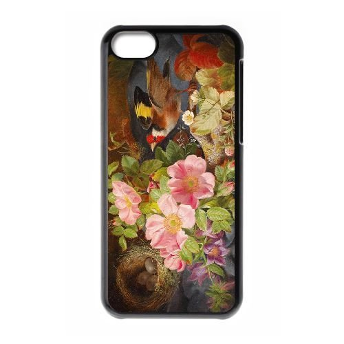 FDXGW558 iPhone 5c Cell Phone Case-black_Retro Flower (11)