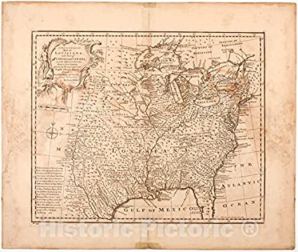 Amazon.com: Vintage Map | 1750 A new & accurate map of ...