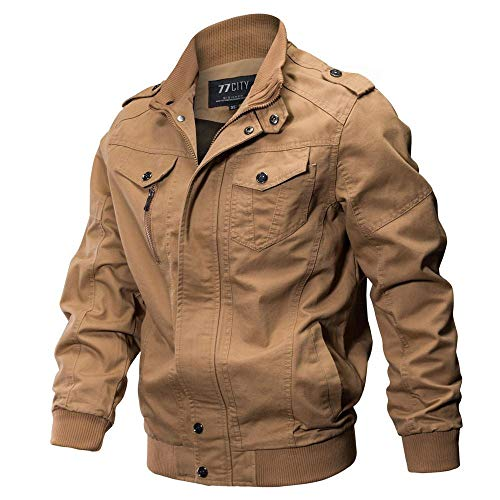 (Hot Sale,Mens Heavyweight Jackets WUAI Long Sleeve Zip Slim Fit Plus Size Casual Military Outwear Breathable Coat(Khaki ,US Size 2XL = Tag 3XL))