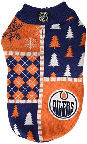 HUNTER NHL HAPW0453 Edmonton Oilers Ugly Knit Sweater for Pets, Medium