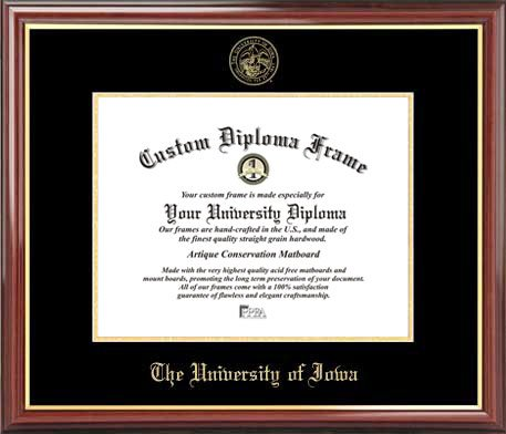 Laminated Visuals University of Iowa Hawkeyes - Embossed Seal - Mahogany Gold Trim - Diploma Frame
