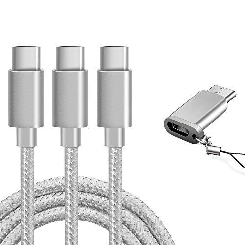 Usb Charger Adapter Cable (USB Type C Cable, Marge Plus USB C Cable 3 Pack (6ft), Nylon Braided Fast Charger Cord for Samsung Galaxy S8 S9 Note 8 S8 Plus, LG G6 G5 V30 V20, ,Moto Z2,Google Pixel, New Macbook and More)