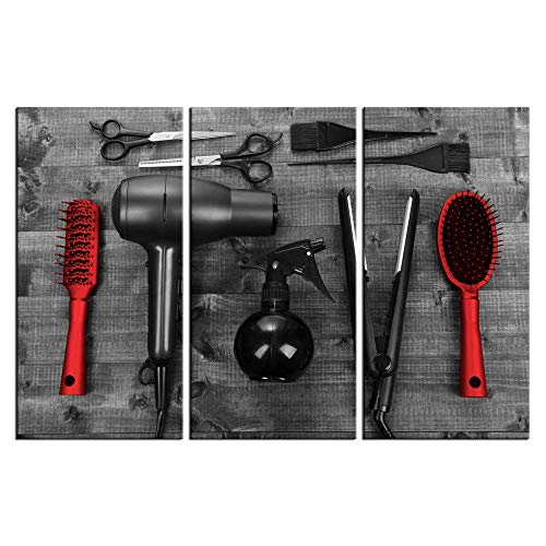 LevvArts - 3 Piece Modern Canvas Painting Barber Shop Wall Art Vintage Hair Cutting Tools on Wooden Board Picture Prints Black and Red Artwork for Home Salon Bathroom Living Room Wall Decor 12x24