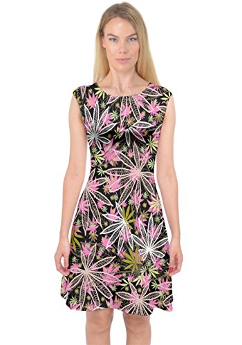 PattyCandy Womens Awesome Dark Cannabis Marijuana Capsleeve Midi Dress, XS-3XL