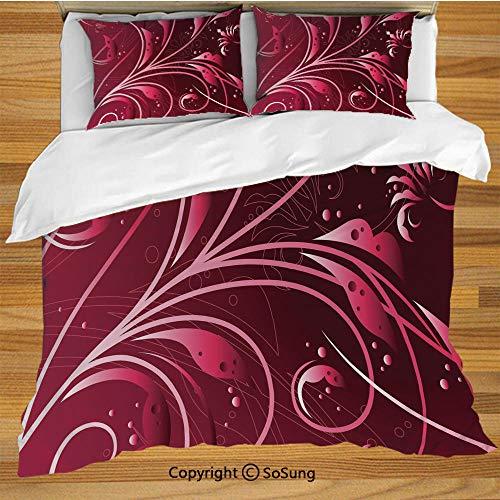 Maroon King Size Bedding Duvet Cover Set,Modern Japanese Artwork Flower Abstraction Petals Dots Swirls Graphic Plant Decorative Decorative 3 Piece Bedding Set with 2 Pillow Shams,Maroon Dark Maroon