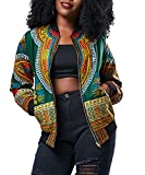 Playworld Women's Long Sleeve Print Dashiki Ethnic Style Africa Baseball Jacket,Green,Medium
