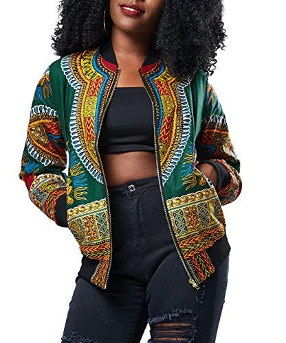Playworld Women's Long Sleeve Print Dashiki Ethnic Style Africa Baseball Jacket,Green,Medium by Playworld