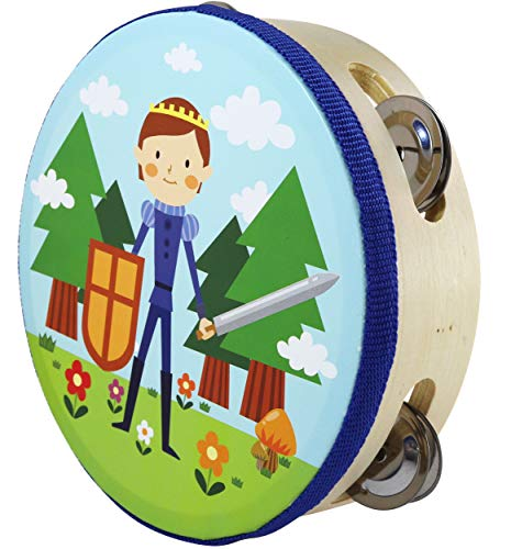 Tambourine Toy Little Knight - Kids Tambourine Drum for Childrens - 6.3 inch -