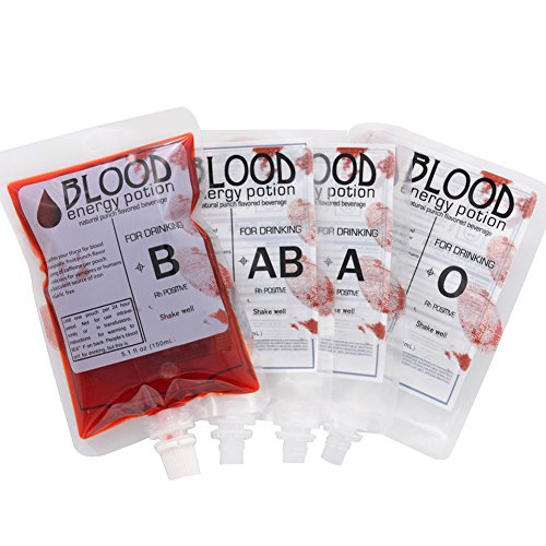(Price/20 PCS) Aspire 8 OZ Novelty Bags, Blood Bags, Vampire Drink Container, Halloween Party Favors, 8.6mm Spout-Blood Type ()