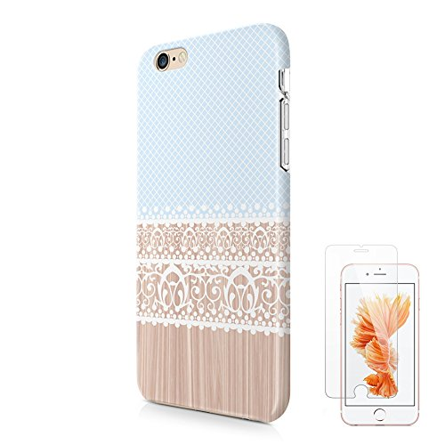 Mint Blue Lace Floral iPhone 6 6S Protective Case Ucolor Wood Print Dual Layer Hard PC + Soft TPU Tough Case for iPhone 6 6S-with Slim Tempered Glass Screen Protector