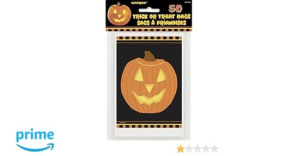 UNIQUE 50 Bolsas de Caramelos Calabaza Halloween: Amazon.es ...
